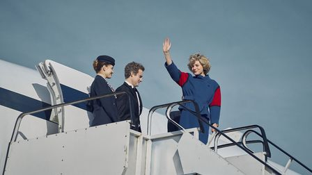 Princess Diana (actress Emma Corrin) boarding the Brooklands Concorde in The Crown series 4 (photo: