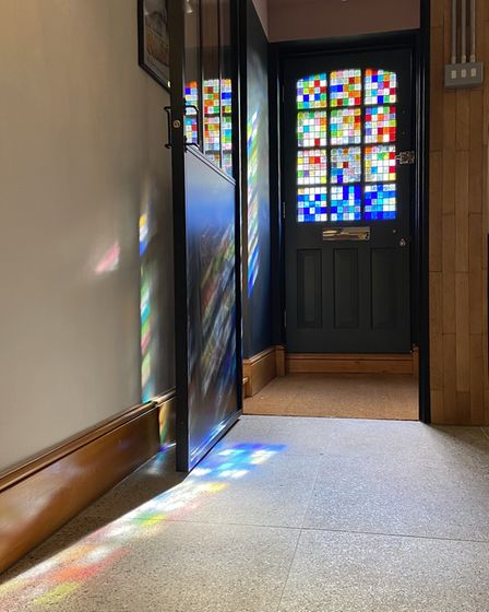 Contemporary stained glass front door panel. Image John Proctor