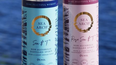 Sea Arch 'Sea & T' and 'Rose Sea & T' non-alcoholic ready-made drinks in a can. Photo: Geoff Yates