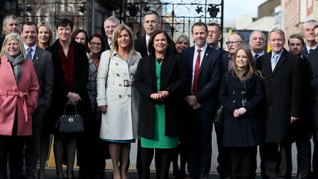 Sinn Fein Leader Mary Lou McDonald (centre) with newly elected TDs from her party arriving at Leinst