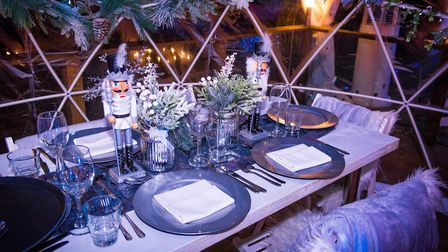 The pods are set up for a fabulous Christmas dining experience (photo courtesy of Kings Oak)
