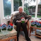 Derek de Belder and his handmade bird boxes, which will be on sale for charity at the Love the Lane