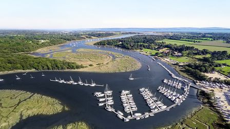 Buckler's Hard and the Beaulieu river from the air