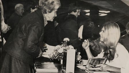 Jilly Cooper and her Mum Elaine Sallitt at her 1st book signing in 1973
