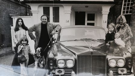 Jilly Cooper with Leo and family with a loaned Rolls Royce in the late 70's