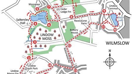 Lindow walk map Images; David Dunford/Countryside books