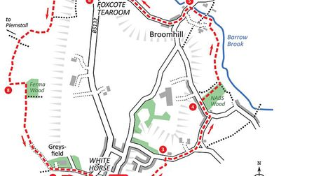 Barrow and Broomhill walk map