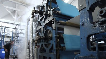 One of the two Fourdrinier paper machines at Frogmore Paper Mill. It's still producing paper today (