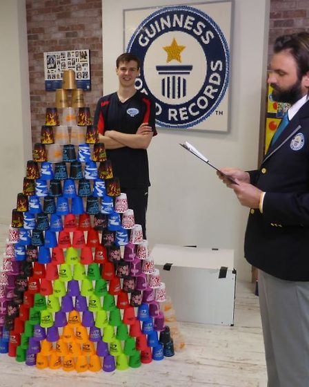 James Acraman stacked 171 cups in 59.10 seconds, breaking his own world record