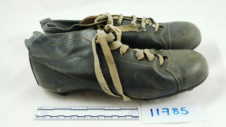 Stanley Matthews' football boots, part of the football museum collection now at North Hertfordshire