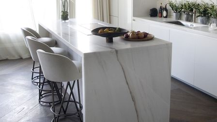 Natural stone waterfall countertops are at the forefront of kitchen design trends for 2021. Picture: