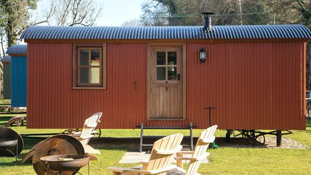 There are five shepherd's huts at The Merry Harriers in Hambledon.