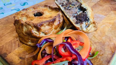 Slow-cooked pork belly, black pudding, spring onion and five spice pie