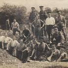First World War officer trainees take a break from trench digging on Berkhamsted Common
