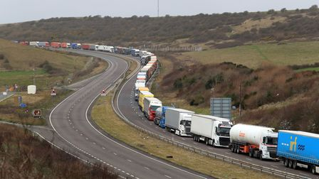 Lorries at the entrance to the Port of Dover in Kent. Lorry drivers are being left in the dark over
