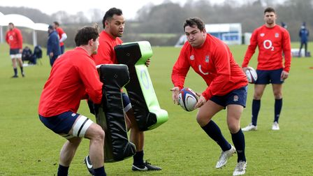 England's Jamie George (right) during a training session at St. George's Park, Burton upon Trent. Pi