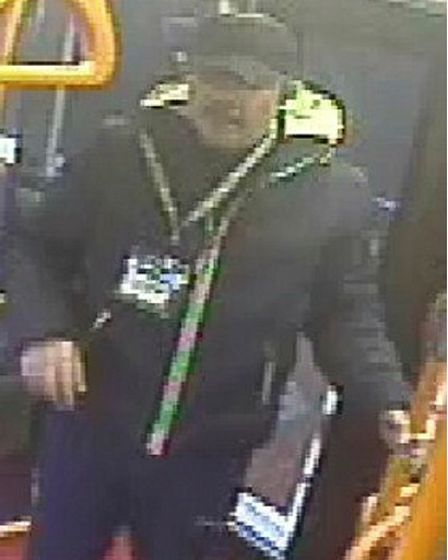 CCTV image of a man on a bus