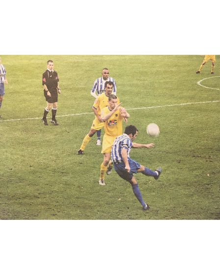 Clevedon Town in action against Chester City in the first round of the FA Cup