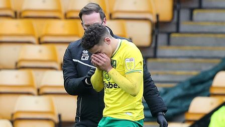 Max Aarons took a whack in the face in the closing stages of Norwich City's 0-0 Championship draw against Middlesbrough