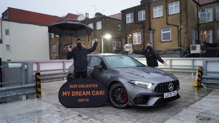 Simon Ford collecting his Mercedes-AMG A45 S