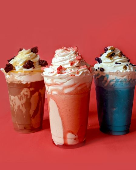 Vegan shakes from Chuck Chick - (L-R) salted caramel brownie, strawberries and cream and banana and bubblegum.