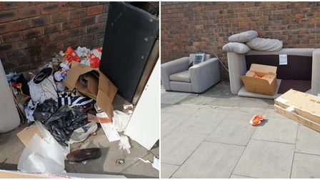 Some of the rubbish dumped in Alexandra Place