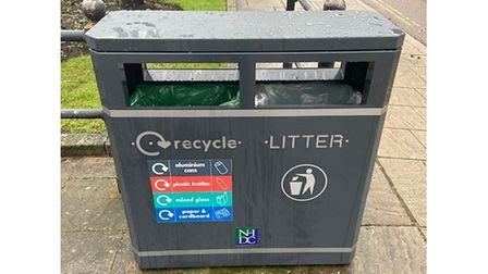 New recycling and litter bin in Royston town centre