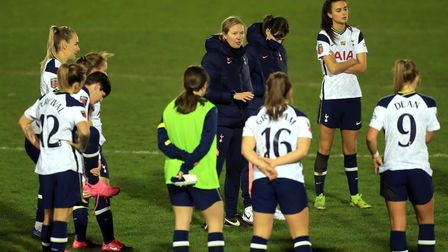Tottenham Hotspur head coach Rehanne Skinner (centre top) leads a huddle with players after the fina