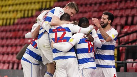 Queens Park Rangers' Albert Adomah celebrates scoring their side's second goal of the game with team