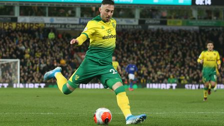 Josip Drmic of Norwich has a shot on goal during the Premier League match at Carrow Road, Norwich