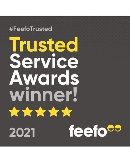theFeefoTrusted Service Award with five stars and the words 'theFeefoTrusted Service Award winner'
