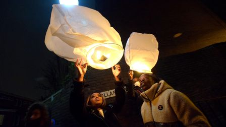 Community vigil for Romario Opia on Holland Walk 01.02.21.Launching floating lanterns, pictured Rom