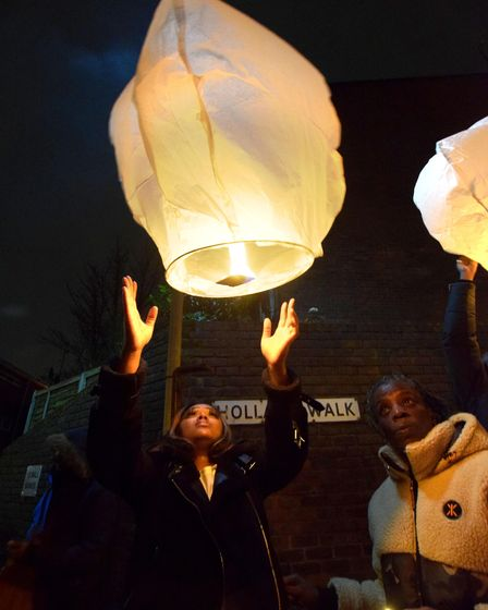Community vigil for Romario Opia on Holland Walk 01.02.21.Launching floating lanterns