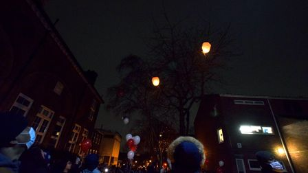 Community vigil for Romario Opia on Holland Walk 01.02.21.Watching the lanterns float away