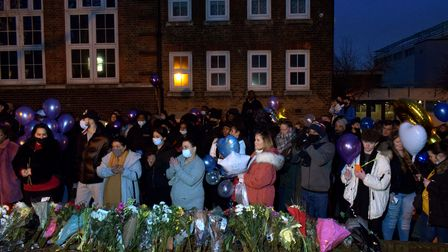 Community vigil for Romario Opia on Holland Walk 01.02.21.People gathered with flowers, candles and