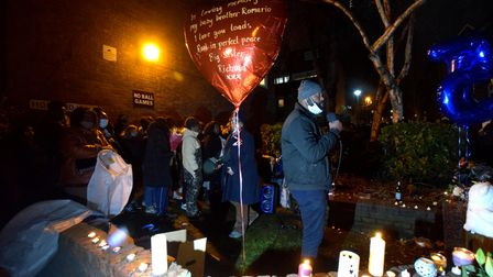 Community vigil for Romario Opia on Holland Walk 01.02.21.Family and friends speak to the crowd