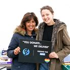 Debra Goodman with her daughter-in-law Christina at the donations hub in her Hampstead Garden Suburb driveway.