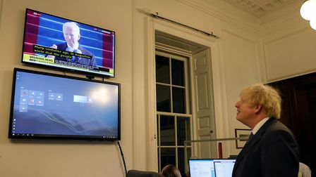 Boris Johnson watches Joe Biden's inauguration speech