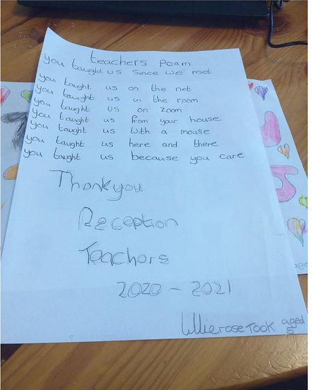 Poem thanking her teachers by reception class pupil Lillierose.