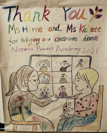 One of the artworks thanking teachers at Norwich Primary Academy.