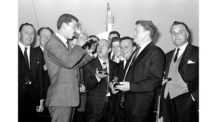 Competitors at an inter-firm darts final at Cranes Sports Club, Ipswich in 1969