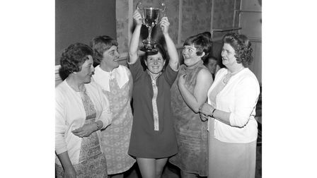 The women's darts team at The Fludyers in Felixstowe in April 1968