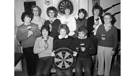 The ladies' darts team at the George and Dragon in Farnham in March 1983