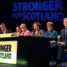 Joanna Cherry and Nicola Sturgeon on a panel at an SNP conference