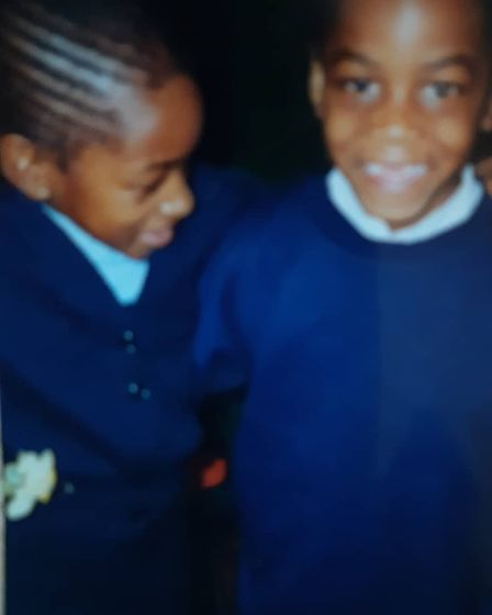 Terrell (right) with his school friend at primary school.
