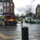"""Police, the fire brigade, and ambulance service at the scene of incident in Golders Green involving a """"molotov cocktail""""."""