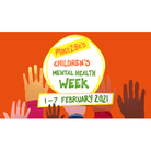 Children's Mental Health Week logo with hands reaching up to the words