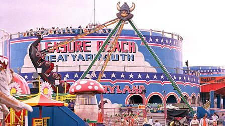 The roller coaster at the Pleasure beach in Great Yarmouth. Date: June 23, 2000.