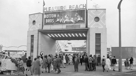 The entrance to Great Yarmouth's Pleasure Beach. Date: March 1964.