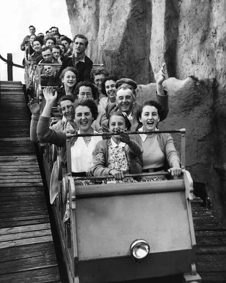 The roller coaster at Great Yarmouth Pleasure Beach. Date: 1953.